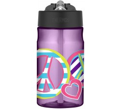 BÌNH NƯỚC TÍM  HOA VĂN 355ML - Thermos Tritan Hydration Bottle, Peace 12oz