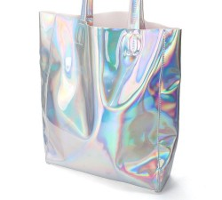 TÚI TO MÀU BẠC Women Holographic Metallic Silver Shopping Bag Shoulder Tote Handbag Gammaray,Silver color